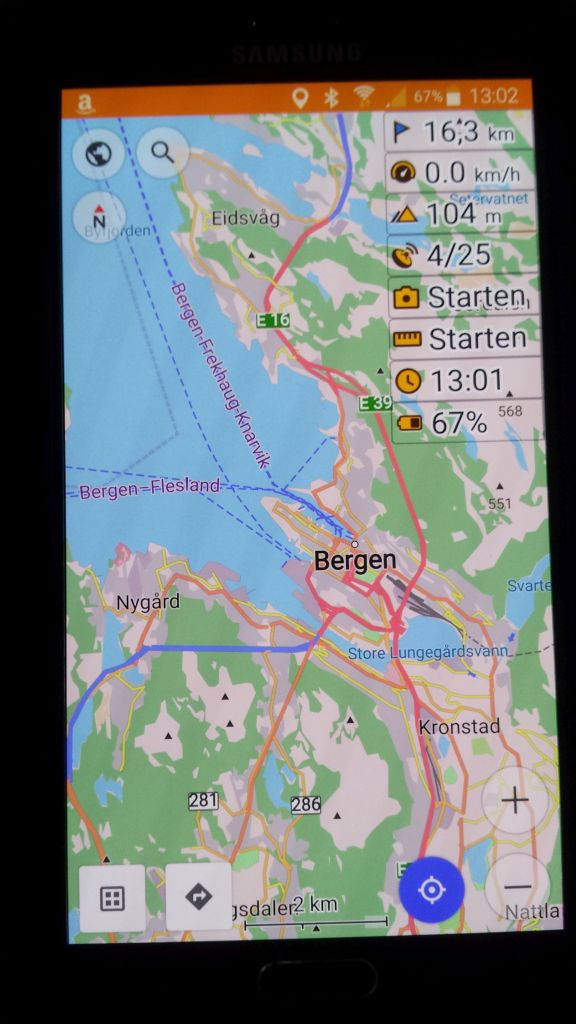 OsmAnd+ Navigation auf dem Note4